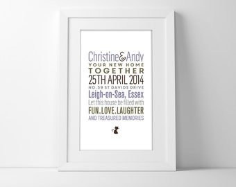Framed New Home Print with a Personalised Illustration