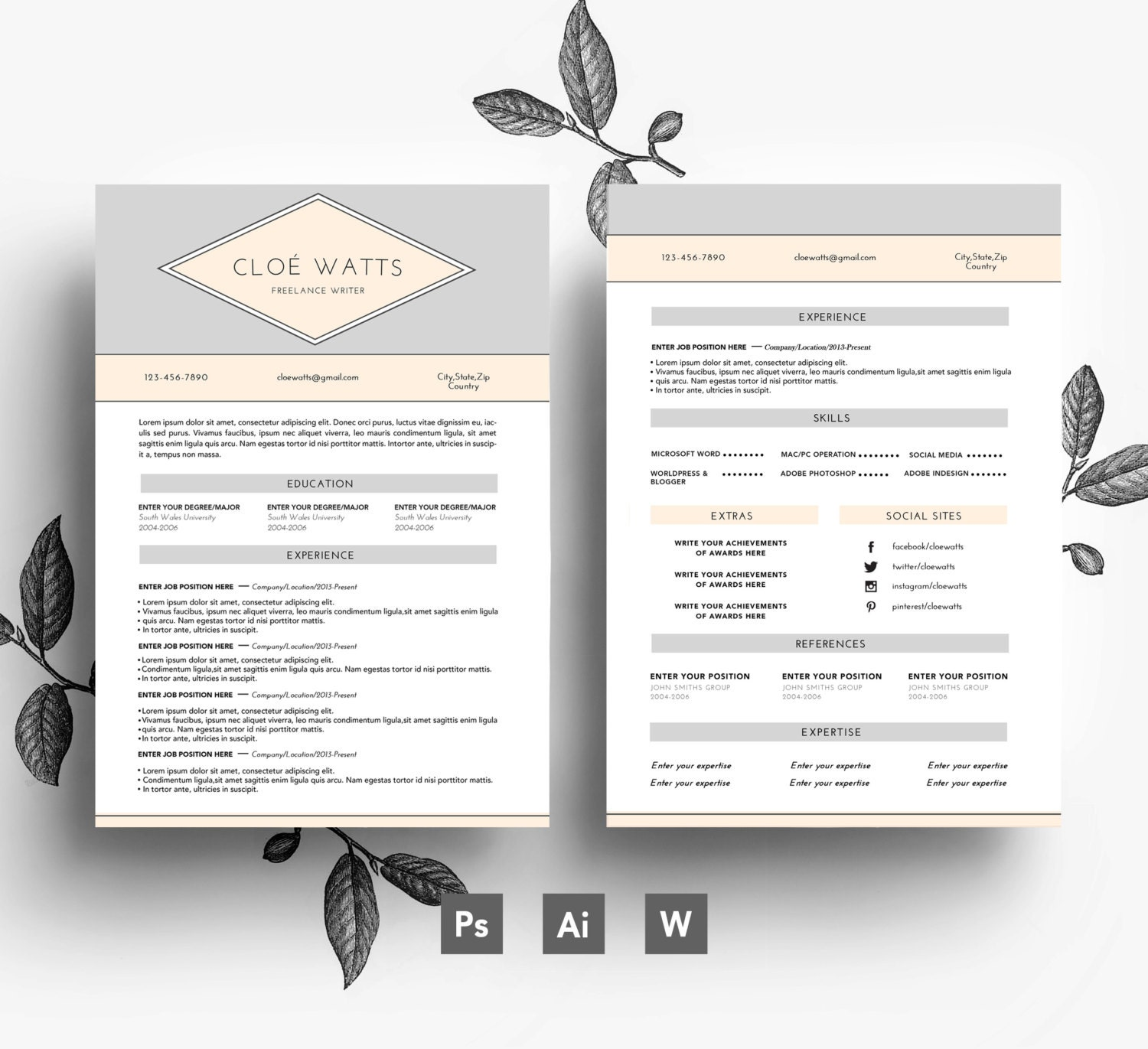 Professional CV template/ Business card 2 by EmilyARTboutique