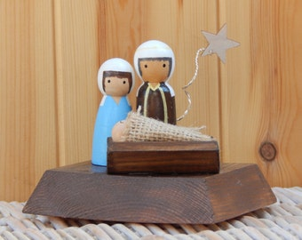 Nativity Peg Doll scene, Christmas nativity, Nativity decoration, Baby Jesus, Nativity Set