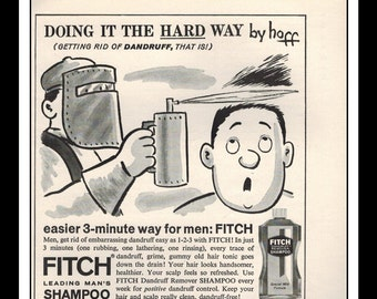 "Vintage Print Ad April 1962 : Fitch Leading Man's Shampoo Illustration Fashion Clothing Wall Art Decor 5"" x 5"" each Advertisement"