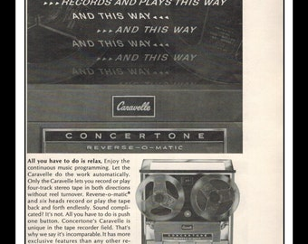 """Vintage Print Ad June 1964 : Caravelle Concertone Reverse-O-Matic Reel to Reel Wall Art Decor 5"""" x 11"""" Advertisement"""