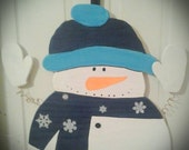 Wooden Hand Painted Large Snowman Door Hanger CIJ Christmas in July Sale