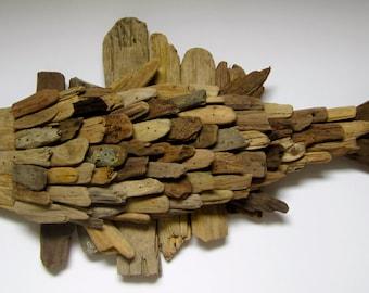 Handmade Driftwood Fish Wall Plaque-Driftwood Fish-Driftwood Home Decor-Wooden Fish Wall Plaque-