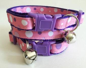 Cat Collar - Kitten Collar - Pink and Purple Polka Dot Cat Collar - Adjustable Breakaway Cat Collar - Girl Cat Collar with Removable Bell