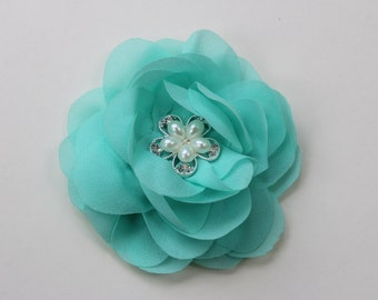 Mint hair clip mint flower girl hair bows mint flower hairpiece mint bridesmaid hairpiece mint hair accessory kids hair accessory girls