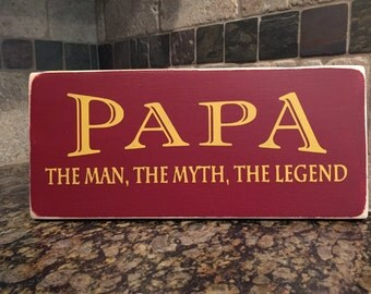 Myth legend etsy papa theman themyth the legend wood sign fathers day gift man cave dad sciox Gallery
