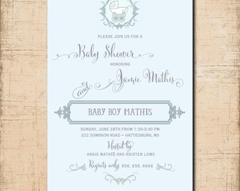 Vintage Baby Shower Invitation Boy/printable/Digital File/boy baby shower, light blue, vintage boy shower/Wording & Colors can be changed