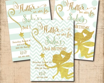 Fairy Birthday Invitation printable/Digital File/Tinkerbell invitation, gold, mint and gold, fairy wand, fairy party/Wording can be changed