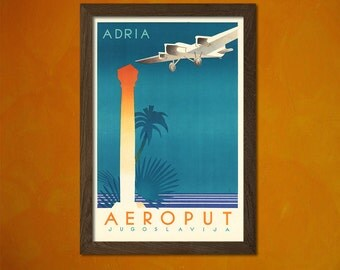 Adria Aeroput Yugoslavia Poster - Vintage Tourism Travel Poster Advertising Retro Wall Decor Office decoration  t
