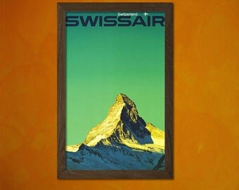Swissair Switzerland Mountains Poster - Vintage Tourism Travel Poster Advertising Retro Wall Decor Office decoration Reproduction