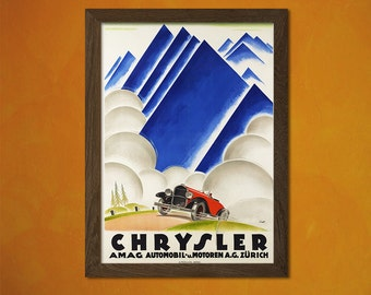 Chrysler Retro Car Poster 1922 - Vintage Car Poster Advertising Retro Wall Decor Office decoration  t