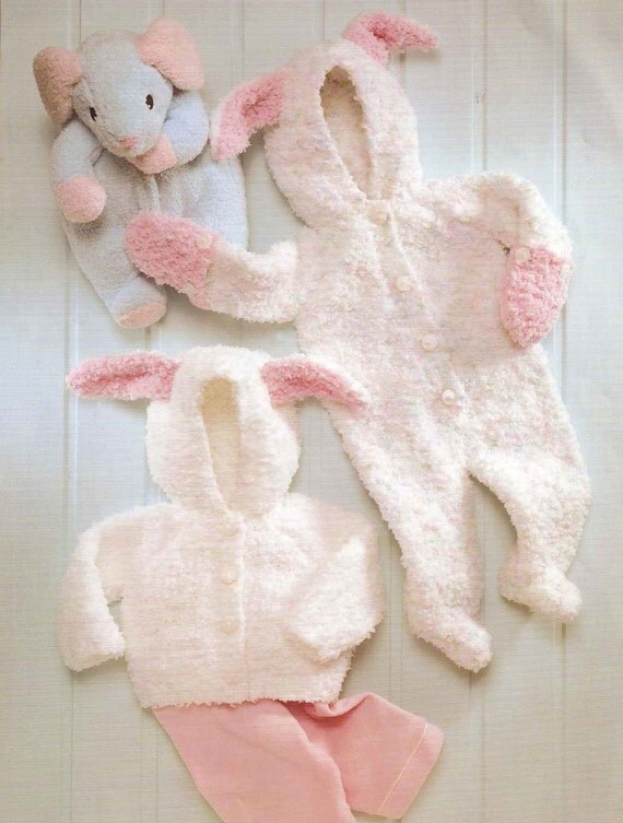 Knit Baby Bunny Jumper And Jacket Vintage Pattern Knitting