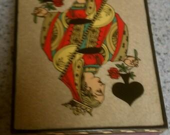 Ceramic card box, playing card box, ceramic box, Vintage card box, card storage