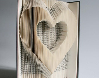 Heart Book Folding Pattern + cuts: Plus free printable downloads (pdf) to personalise your book art and full step by step tutorial.