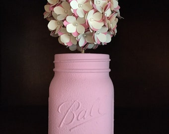 Rustic pink and cream paper hydreanga ball in hand painted mason jar