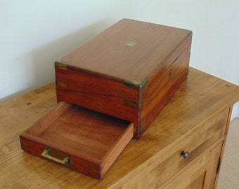 victorian mahogany brass campaign writing box