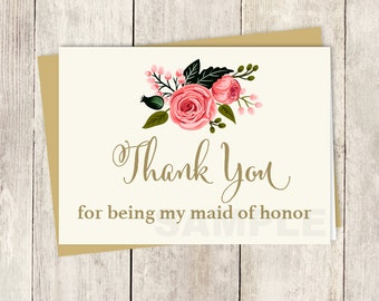 To My Maid Of Honor Card // Wedding Thank You Card DIY // Watercolor Flower // Gold Calligraphy, Rose // Printable PDF ▷ Instant Download