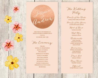 Wedding Program / Metallic Rose Gold, Coral / Wedding Party Card / Wedding Schedule Ceremony Program ▷ Printable File {or} Printed & Shipped