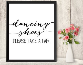 Dancing Shoes Sign / Wedding Dance Sign DIY / Flip Flop Sign / Trendy Calligraphy Sign / 8x10 Sign / Printable PDF Poster ▷ Instant Download