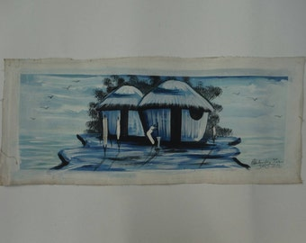 Blue Village Scene Painting from Accra, Ghana
