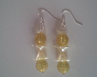 Yellow Beaded Earrings   (#263)