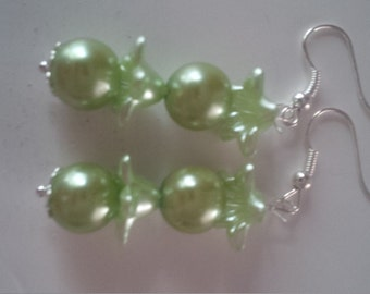 Green Beaded Earrings    (#275)