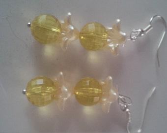 Yellow Beaded Earrings   (#277)