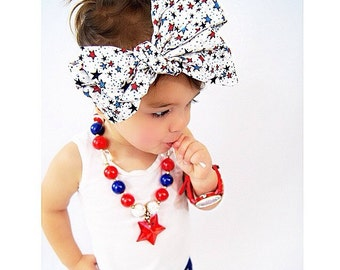 Patriotic Stars Headwrap - fourth of july headband, baby, toddler, child, adult hair accessory