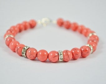 FREE SHIPPING, Coral bracelet, coral pink bracelet, pink coral bracelet, pink gemstone bracelet, pink howlite bracelet, gemstone bracelets,