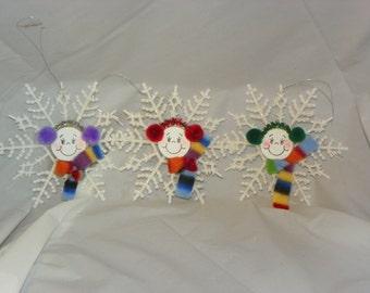 Snowmen Snowflake Christmas Ornament / Suncatcher