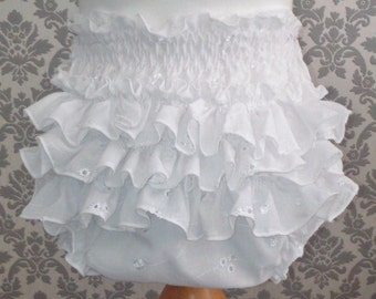 ONLY 25GBP Adult Baby Frilly Sissy Panties Nappy Cover 100% Cotton Broderie Anglais White