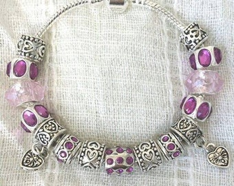 Antique Tibetan Silver Plated Pink Rhinestone Hearts Charms Beads Bracelet 7.5 Inches