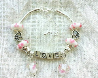 Love Letter Pink Heart Charm Glass Beads Silver Plated Bracelet 7-9 Inches Adjustable