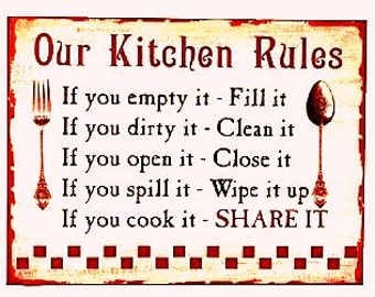 Magnet for Refrigerator funny, Kitchen Rules