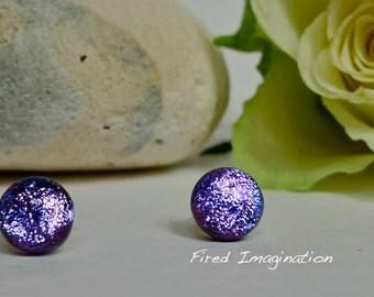 Sparkly Purple Glass Studs
