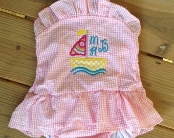Toddler One-Piece Appliqué Sailboat Swimsuit