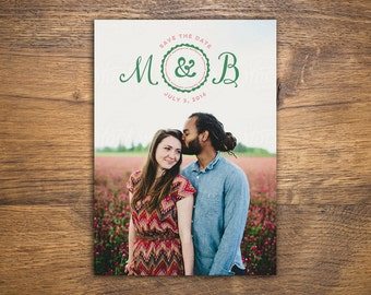 Custom Initial Save-the-Date Card for Wedding with Photo   Printable PDF