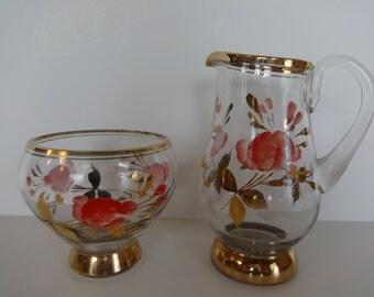 Handpainted Glass Creamer and Sugar Bowl, Gold Trimmed Creamer and Sugar Bowl, Glass Creamer, Glass Sugar Bowl, Creamer, Sugar Bowl