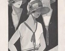 Original stylish Art Deco French lithograph depicting hats, c1925