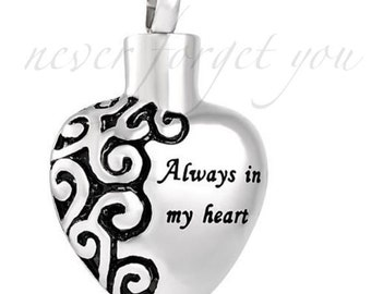 """Cremation Jewelry Always In My Heart Pendant Keepsake Memorial Urn Necklace with 20"""" Chain & Fill Kit No.20"""