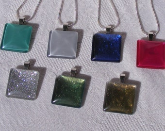 Glass Cabochon Square Pendant on Silver Plated 1 mm Snake Chain