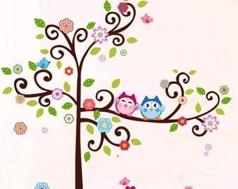 Nursery Wall Decals XL,  DIY  Wall Stickers,  Owl Wall Decals, Flower ,Tree Wall Decor, Flower Wall Stickers, Nursery Wall Decal