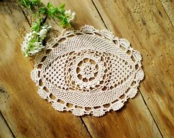 Vintage Crochet Lace  Runner, Cotton Tablecloth , Home Decoration , Antique Lace Doily Elegant Crochet