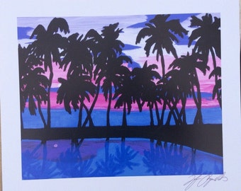 Digital prints of my original purple palms painting