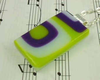 Retro Squares Fused Glass Pendant - Lime Green, Purple Grape & White Necklace - Funky Geometric Design - Silver Rolo Chain