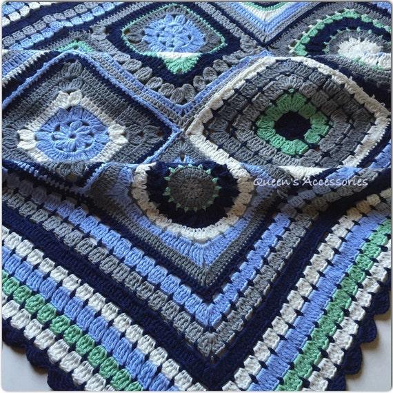 Baby Bamboo Blanket Pattern: Crochet Cotton Bamboo Baby Blanket Unisex Blue White Navy