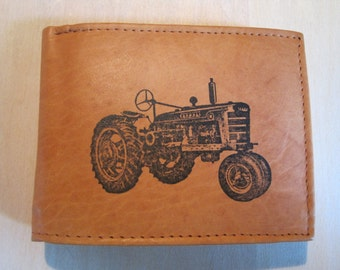 "Mankind Wallets Men's Leather RFID Blocking Billfold w/ ""IH Farmall Tractor"" Image~Makes a Great Gift!"