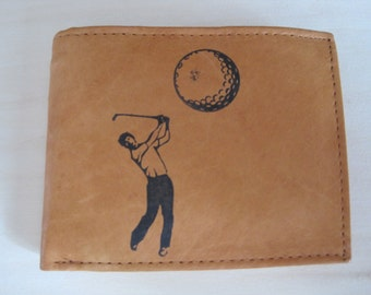 "Mankind Wallets Men's RFID Leather Blocking Billfold w/ ""Golfing/Golfer"" Image~Makes a Great Gift!"