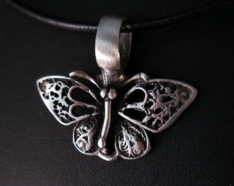 Butterfly Necklace, Pewter Butterfly Pendant, Leather Cord Necklace, Butterfly Jewelry, Girls Necklace, Lacy Butterfly, Statement Necklace