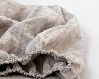 Melange Fitted Stone Washed Linen Bed Sheet